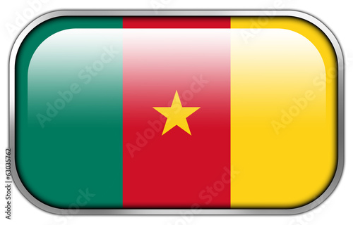 Cameroon Flag rectangle glossy button