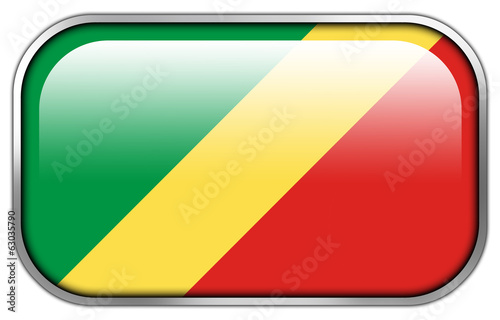Congo Republic Flag rectangle glossy button