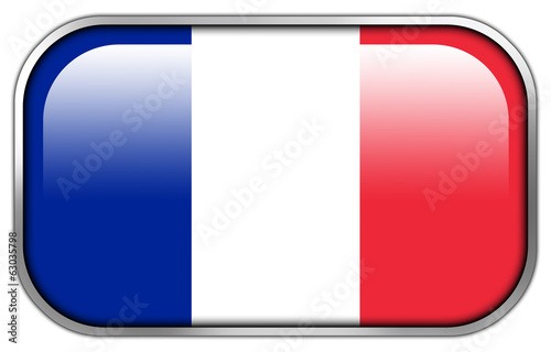 France Flag rectangle glossy button