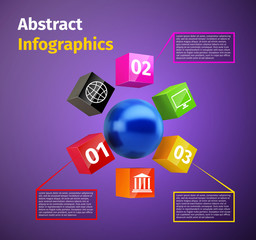 Cubes and 3d sphere infographic