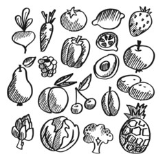 Black isolated vegetables, fruits doodle icons, vector