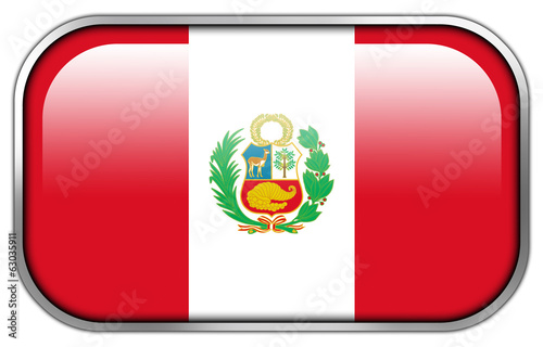 Peru Flag rectangle glossy button