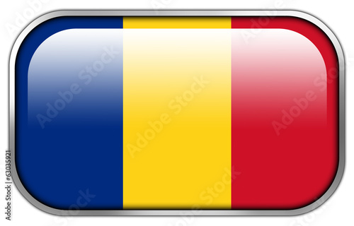 Romania Flag rectangle glossy button