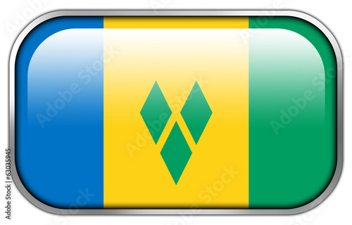 Saint Vincent and The Grenadines Flag rectangle glossy button