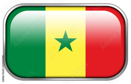 Senegal Flag rectangle glossy button