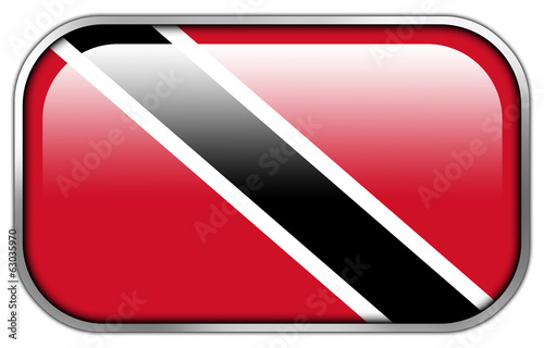 Trinidad and Tobago Flag rectangle glossy button