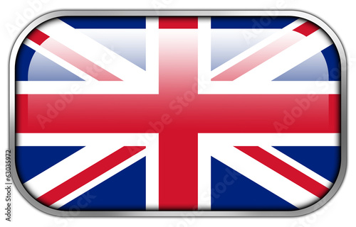 United Kingdom Flag rectangle glossy button