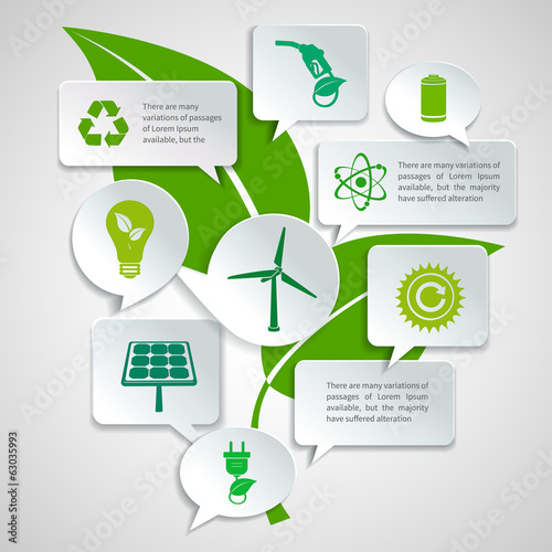 Ecology and energy paper bubbles infographic