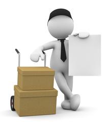 omino bianco con carrello e scatole