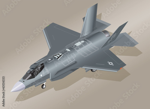 Detailed Isometric Illustration of an F-35 Lightning II Jet