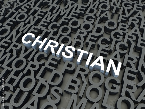 Word Christian in white. Keyword concept.