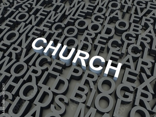 Word Church in white. Keyword concept.