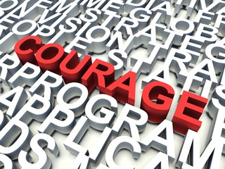 Word Courage in red. Keyword concept.