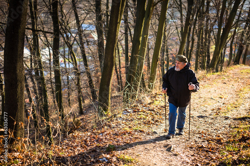 Senior man nordic walking, enjoying the outdoors
