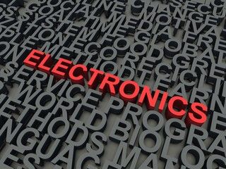 Word Electronics in red. Keyword concept.