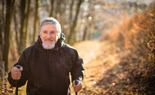 Senior man nordic walking, enjoying the outdoor