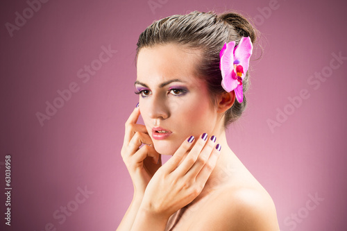 Glamour portrait of beautiful caucasian model - woman girl