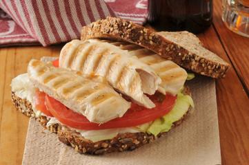 Chicken sandwich and beer