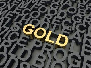 Word Gold. Keyword concept.