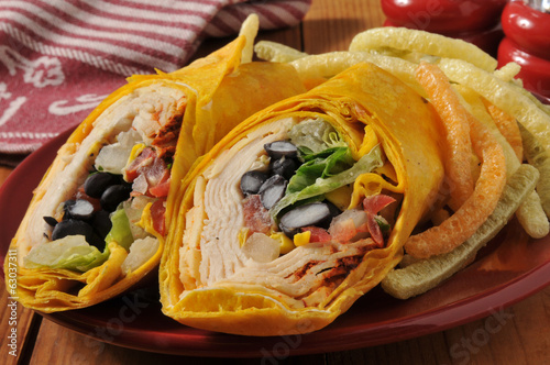 Chipotle chicken wrap sandwich