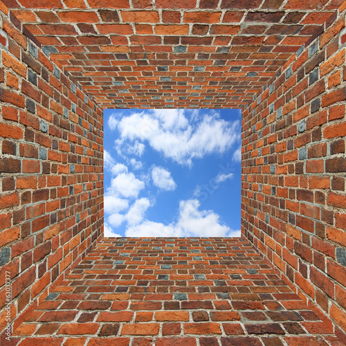 brick wall and view to the sky overhead