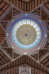 Valencia Mercado Central market dome indoor detail Spain