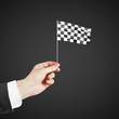 Checkered flag in hand