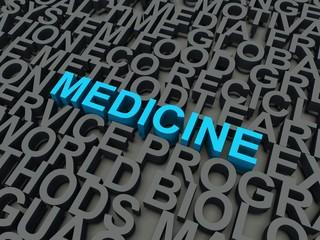 Word Medicine in blue. Keyword concept.