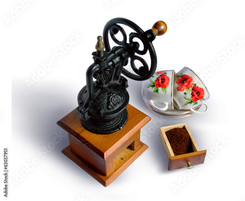 Still life with an ancient coffee grinder