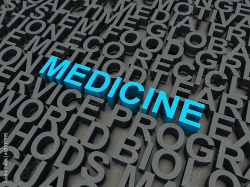 Word Medicine in blue. Keyword concept.
