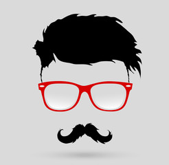 mustache glasses hairstyle