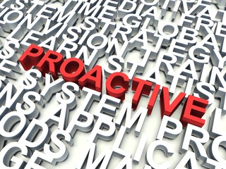 Word Proactive in red. Keyword concept.