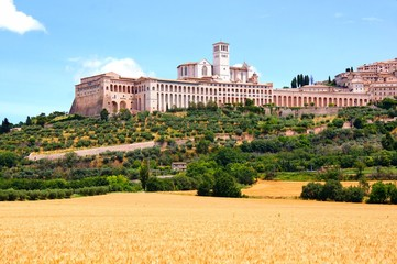 View towards the famous Basilica of St Francis, Assisi, Italy