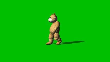 cartoon bear goes backwards  - green screen
