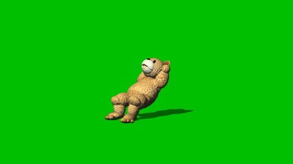 cartoon bear is sitting and relaxes  - green screen