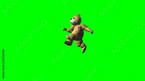 cartoon bear runs  - green screen