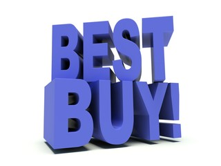Advertising words Best Buy in Blue. 3d render