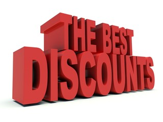 Advertising words The best discounts. 3d render