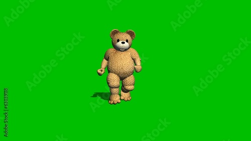 cartoon bear runs backwards  - green screen