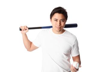 Focused baseball player
