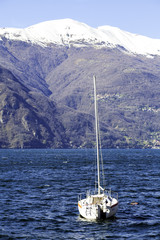 Sailorboat moored on the Lecco Lake color image