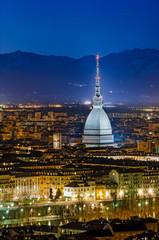 Turin (Torino), night panorama with the Mole Antonelliana