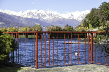 Terrace over Lecco Lake color image