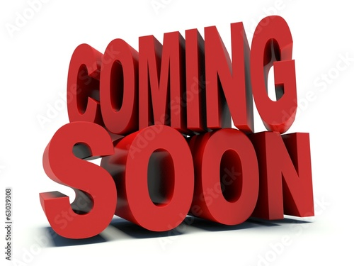Advertising words Coming Soon in red. 3d render