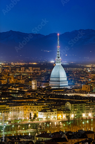 Turin (Torino), night panorama with the Mole Antonelliana