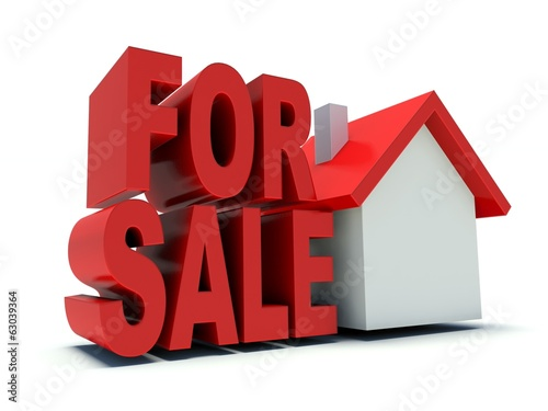 House for sale. Real estate advertising symbol. 3d render