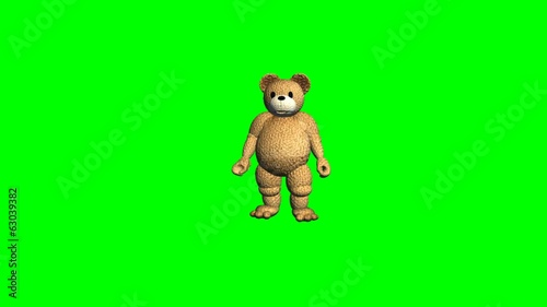 cartoon teddy bear different movements - green screen