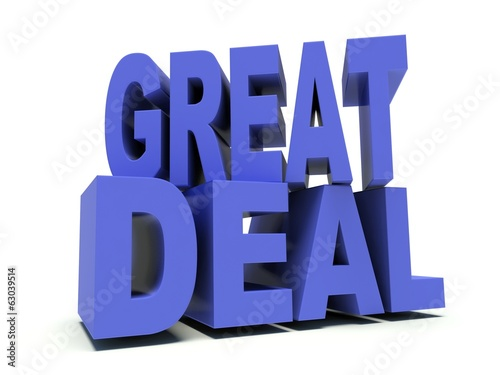 Advertising words Great deal in blue. 3d render