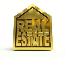 Golden Real Estate symbol. 3d render