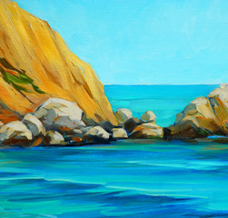 beach by mediterranean sea, painting by oil on canvas, illustrat